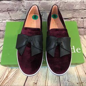 Kate Spade Burgundy Velvet Flat Shoes Black Bow 8